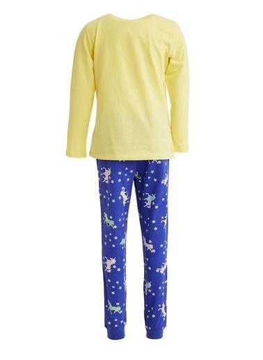 DeFacto Kız Çocuk Unicorn Baskılı Pijama Takım Sarı